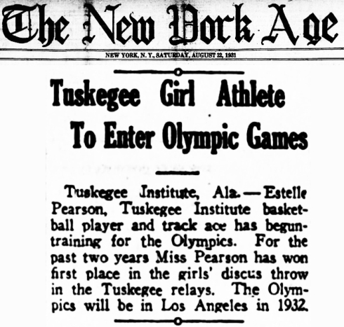 Estelle Pearson Tuskegee Olymplic Games 1932