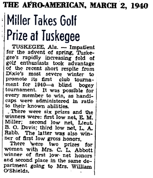 Tuskegee University Golf History