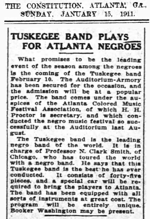 Tuskegee Band visits Atlanta in 1911